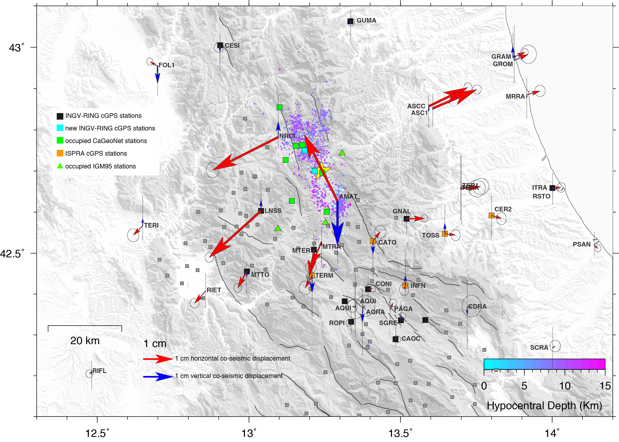 Co-seismic displacements for the August 24, 2016 Ml6, Amatrice